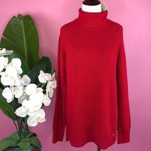{Michael Kors} Chunky Red Turtleneck Sweater